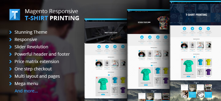 Magento t shirt printing website responsive theme for T shirt printing website